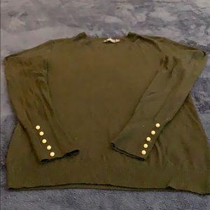 Women's Zara black knit sweater w/ pearl size M